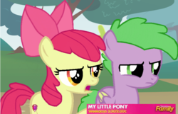 Size: 757x487 | Tagged: artist needed, source needed, safe, apple bloom, spike, pegasus, pony, discovery family logo, fake, fake screencap, faker than a three dollar bill, open mouth, ponified, ponified spike, species swap