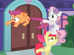 Size: 846x636 | Tagged: safe, screencap, apple bloom, scootaloo, sweetie belle, earth pony, pegasus, pony, unicorn, marks for effort, cropped, cutie mark crusaders, female, filly, open mouth, pony pile, school of friendship, standing, tail, tail pull, tower of pony