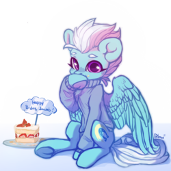 Size: 2000x2000   Tagged: safe, artist:graypillow, fleetfoot, pegasus, pony, birthday cake, cake, clothes, cute, diafleetes, eating, female, food, food on face, mare, simple background, sitting, solo, sweater, underhoof, white background