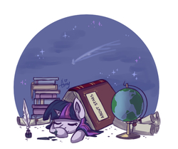 Size: 1212x1012 | Tagged: safe, artist:amy-gamy, twilight sparkle, pony, unicorn, adorkable, book, bookhorse, cute, dork, eyes closed, female, filly, globe, impossibly large book, ink, ink stain, inkwell, mare, night, quill, quill pen, scroll, shooting stars, simple background, sleeping, smiling, solo, stars, twiabetes, unicorn twilight, white background