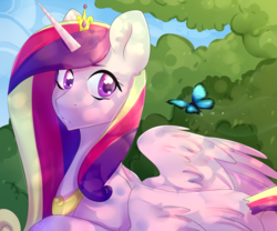 Size: 3000x2500 | Tagged: alicorn, artist:tigra0118, butterfly, dappled sunlight, female, looking back, mare, pony, princess cadance, safe, solo