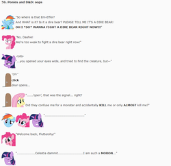 Size: 857x830 | Tagged: artist:dziadek1990, conversation, dialogue, dice, dungeons and dragons, emote story, emote story:ponies and d&d, fluttershy, oops, paper, pen and paper rpg, pinkie pie, rainbow dash, reddit, rpg, safe, tabletop game, text, twilight sparkle