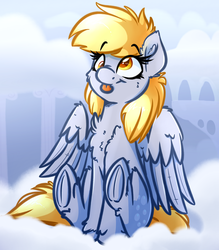 Size: 3500x4000 | Tagged: safe, artist:witchtaunter, derpy hooves, pegasus, pony, :p, cheek fluff, chest fluff, cloud, cute, derpabetes, ear fluff, female, fluffy, frog (hoof), leg fluff, mare, silly, sitting, smiling, solo, tongue out, underhoof, unshorn fetlocks, weapons-grade cute, wing fluff, witchtaunter is trying to murder us