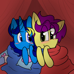 Size: 1080x1080 | Tagged: artist:brsajo, blanket, blanket fort, blushing, cute, earth pony, female, heart eyes, male, oc, oc:brsajo, oc:electro swing, pillow, pony, safe, shy, shy smile, smiling, snuggling, unicorn, wingding eyes