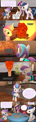 Size: 1920x6480 | Tagged: 3d, artist:red4567, burger, burnt juice, clothes, comic, fire, fireball, flurry heart ruins everything, food, hay burger, meme, older, older flurry heart, princess cadance, princess flurry heart, safe, shining armor, shorts, source filmmaker, steamed hams, table, the simpsons