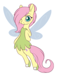 Size: 1119x1455 | Tagged: safe, artist:dusthiel, fluttershy, fairy, semi-anthro, atg 2018, blushing, clothes, cute, ear fluff, fairy wings, female, gossamer wings, hair bun, hair over one eye, hair tie, looking at you, newbie artist training grounds, one eye closed, shoes, shyabetes, simple background, smiling, solo, species swap, tinkerbell, transparent background, wings, wink