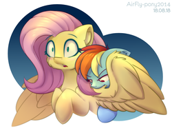 Size: 1440x1130   Tagged: safe, artist:airfly-pony, derpibooru exclusive, fluttershy, rainbow dash, pegasus, pony, biting, blushing, ear fluff, female, floppy ears, flutterdash, lesbian, mare, open mouth, preening, rcf community, shipping, simple background, smoldash, spread wings, tallershy, white background, wings