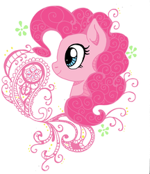 Size: 2115x2448 | Tagged: safe, artist:denigirl, artist:ichiban-iceychan1517, color edit, edit, pinkie pie, earth pony, pony, bust, colored, cute, diapinkes, female, henna, mare, modern art, nouveau, pattern, portrait, pretty, profile, simple background, solo, white background