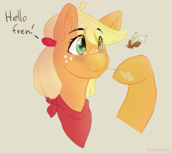 Size: 908x808 | Tagged: applejack, artist:fuzzypones, bandana, blushing, bust, colored, earth pony, female, insect, mare, raised hoof, safe, solo, straw, text
