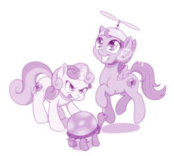 Size: 1000x897 | Tagged: accessory theft, artist:dstears, female, filly, glowing horn, hat, magic, mlem, monochrome, pegasus, pony, propeller hat, safe, scootaloo, silly, simple background, sweetie belle, tank, telekinesis, tongue out, unicorn, white background