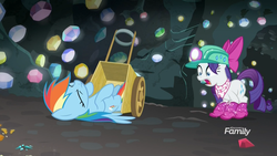 Size: 1920x1080 | Tagged: boots, bow, broken glass, cart, eyes closed, female, gasp, gem, gem cave, glitter boots, helmet, knocked out, legs in air, mare, mining helmet, neckerchief, pegasus, pony, rainbow crash, rainbow dash, rarity, safe, screaming, screencap, shocked, shoes, the end in friend, unicorn