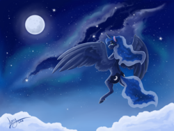 Size: 2048x1536 | Tagged: alicorn, artist:lionylioness, cloud, female, lidded eyes, looking back, mare, missing accessory, moon, night, pony, princess luna, safe, sky, smiling, solo, stars