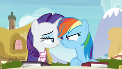 Size: 1920x1080 | Tagged: safe, screencap, rainbow dash, rarity, pegasus, pony, unicorn, the end in friend, angry, bickering, book, boop, eye contact, female, frown, lidded eyes, looking at each other, mare, narrowed eyes, neckerchief, nose to nose, nose wrinkle, noseboop, out of context, patronizing, ponyville, shipping fuel, smug, smugity