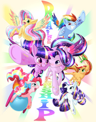 Size: 1500x1900 | Tagged: safe, artist:phoenixperegrine, applejack, fluttershy, pinkie pie, rainbow dash, rarity, starlight glimmer, twilight sparkle, alicorn, earth pony, pegasus, pony, unicorn, female, friends, mane six, mare, rainbow power, rainbow power-ified, simple background, transparent background, twilight sparkle (alicorn)