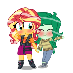 Size: 894x894 | Tagged: artist:katevelasco, blushing, chibi, cute, equestria girls, equestria girls series, female, forgotten friendship, lesbian, safe, shipping, simple background, sunset shimmer, transparent background, vector, wallflower blush, wallset