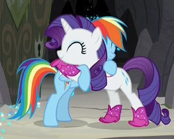 Size: 683x543 | Tagged: safe, screencap, rainbow dash, rarity, pegasus, pony, unicorn, the end in friend, boots, cropped, cute, dashabetes, eyes closed, female, glitter, glitter boots, hug, mare, neckerchief, raribetes, shoes, sparkles