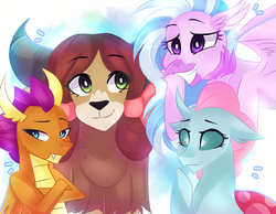 Size: 961x744 | Tagged: artist:waterz-colrxz, changedling, changeling, classical hippogriff, dragon, dragoness, female, hippogriff, ocellus, safe, silverstream, simple background, smiling, smolder, yak, yona