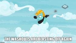 Size: 889x500 | Tagged: safe, edit, edited screencap, screencap, lightning dust, pegasus, pony, the washouts (episode), boomerang (tv channel), clothes, cloud, female, mare, meme, pokémon, sky, team rocket, uniform, washouts uniform