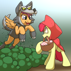 Size: 2000x2000 | Tagged: apple bloom, artist:ohemo, atg 2018, base, clothes, costume, female, filly, little red riding hood, mouth hold, newbie artist training grounds, pony, safe, scootaloo, scootawolf