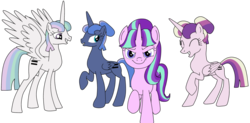 Size: 1024x505 | Tagged: safe, artist:didgereethebrony, princess cadance, princess celestia, princess luna, starlight glimmer, alternate hairstyle, alternate timeline, alternate universe, equal cutie mark, equality, equalized, evil starlight, looking at you, s5 starlight, simple background, stalin glimmer, this will end in communism, transparent background
