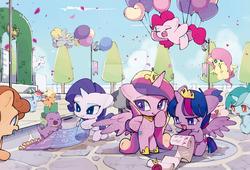Size: 900x612   Tagged: safe, artist:dusty-munji, applejack, bon bon, carrot top, derpy hooves, fluttershy, golden harvest, lyra heartstrings, pinkie pie, princess cadance, rainbow dash, rarity, spike, sweetie drops, twilight sparkle, alicorn, dragon, earth pony, pegasus, pony, unicorn, balloon, bipedal, chibi, crown, deviantart watermark, female, floating, jewelry, male, mane seven, mane six, mare, obtrusive watermark, regalia, then watch her balloons lift her up to the sky, twilight sparkle (alicorn), watermark