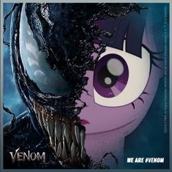 Size: 550x550   Tagged: safe, artist:abealy2, twilight sparkle, alicorn, duality, eddie brock, marvel, marvel comics, movie accurate, twilight sparkle (alicorn), venom, venom (2018)
