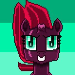 Size: 1501x1501 | Tagged: abstract background, artist:superhypersonic2000, broken horn, female, fizzlepop berrytwist, looking at you, mare, pixel art, pony, safe, smiling, solo, tempest shadow, unicorn