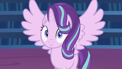 Size: 1280x720   Tagged: safe, artist:forgalorga, starlight glimmer, alicorn, pony, alicornified, looking at you, race swap, spread wings, staring into your soul, starlicorn, wings, xk-class end-of-the-world scenario, youtube link