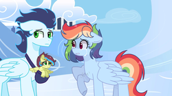 Size: 4602x2570 | Tagged: artist:celestialmoonyt, cloudsdale, crying, female, floppy ears, foal, implied infidelity, lightly watermarked, male, mare, oc, oc:rainbow rain, offspring, parent:soarin', parent:spitfire, parents:soarinfire, pegasus, pony, rainbow dash, raised hoof, safe, soarin', stallion, story included, story in the source, watermark
