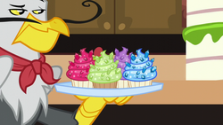 Size: 1280x720 | Tagged: safe, screencap, gustave le grande, griffon, princess spike (episode), cupcake, facial hair, food, male, moustache, sapphire, sapphire cupcake