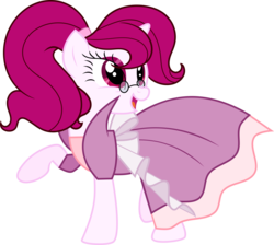 Size: 9227x8255 | Tagged: artist:digimonlover101, clothes, dress, female, gala dress, glasses, looking back, looking up, mare, oc, oc only, oc:roserade, pony, safe, simple background, smiling, solo, transparent background, unicorn