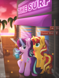 Size: 4000x5333 | Tagged: artist:sol-republica, chest fluff, equestria girls, female, glowing horn, looking at you, looking back, looking back at you, magic, mare, palm tree, pony, safe, starlight glimmer, sunset shimmer, telekinesis, tree, unicorn