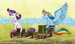 Size: 1024x605 | Tagged: safe, artist:inuhoshi-to-darkpen, rainbow dash, rarity, pegasus, pony, unicorn, the end in friend, azurantium, boots, duo, feathered fetlocks, female, glitter boots, leonine tail, mare, neckerchief, raft, s.s. cragadile, scene interpretation, shoes, simple background, sparkles, spread wings, wings, yellow background