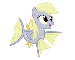 Size: 1024x819 | Tagged: safe, artist:jacob kitts, derpy hooves, fish, hybrid, magikarp, pegasus, poképony, pony, cute, derpykarp, female, fins, fusion, link in description, mare, open mouth, parody, pokémon, pokémon red and blue, pokémon reenacted by ponies, simple background, smiling, solo, transparent background, vector, video link in description