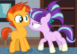 Size: 6997x4953 | Tagged: absurd res, artist:frownfactory, colt, colt sunburst, editor:slayerbvc, female, filly, filly starlight, male, not sure if want, out of context, ponies wearing sunburst's socks, safe, screencap, socks (coat marking), starlight glimmer, sunburst, uncommon bond, window, younger