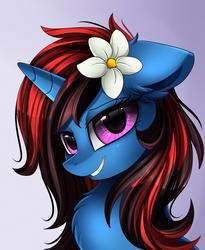 Size: 1446x1764 | Tagged: safe, artist:pridark, oc, oc only, oc:lotus moon, pony, unicorn, bust, commission, cute, female, flower, flower in hair, ocbetes, portrait, purple eyes, solo