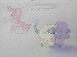 Size: 960x710 | Tagged: artist:heir-of-rick, clothes, costume, earth pony, female, fluttershy, hidden cane, mare, mareep, pinkie pie, pokefied, pokémon, pokémon gold and silver, pony, safe, scared, species swap, traditional art, wings