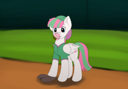 Size: 1024x717 | Tagged: artist:redquoz, atg 2018, baseball, baseball glove, blossomforth, bubblegum, clothes, female, food, gum, mare, newbie artist training grounds, pegasus, pony, safe, solo, sports