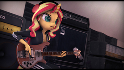 Size: 9600x5400   Tagged: safe, artist:imafutureguitarhero, sunset shimmer, unicorn, anthro, plantigrade anthro, equestria girls, 3d, absurd file size, absurd resolution, adidas, amplifier, bass guitar, black bars, chromatic aberration, clothes, colored pupils, female, film grain, freckles, guitar, headphones, jacket, mare, microphone, microphone stand, musical instrument, nose wrinkle, open mouth, pants, peppered bacon, playing instrument, rickenbacker, rock (music), signature, solo, source filmmaker, speaker, studio, tracksuit