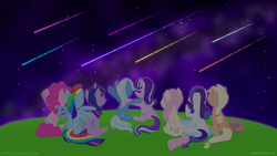 Size: 3840x2160 | Tagged: safe, artist:kitkatyj, applejack, fluttershy, pinkie pie, rainbow dash, rarity, starlight glimmer, trixie, twilight sparkle, alicorn, earth pony, pegasus, pony, unicorn, cowboy hat, female, hat, hooves, horn, lineless, mare, night, night sky, shooting star, sitting, sky, spread wings, stars, twilight sparkle (alicorn), wings
