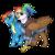 Size: 1100x1100 | Tagged: safe, artist:shimazun, rainbow dash, oc, oc:rainbow feather, pegasus, pony, clothes, commission, goggles, griffon oc, hoodie, interspecies offspring, magical lesbian spawn, offspring, open mouth, parent:gilda, parent:rainbow dash, parents:gildash, simple background, transparent background, uniform, wonderbolts uniform