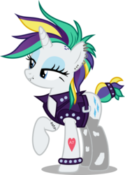 Size: 755x1057   Tagged: safe, artist:dashiesparkle edit, artist:ichiban-iceychan1517, edit, rarity, pony, unicorn, alternate hairstyle, clothes, ear piercing, earring, eyeshadow, female, implied applejack, implied lesbian, implied rarijack, implied shipping, jacket, jewelry, leather jacket, makeup, mare, piercing, punk, raripunk, simple background, snake bites, socks, solo, spiked wristband, stockings, tattoo, thigh highs, torn clothes, transparent background, wristband