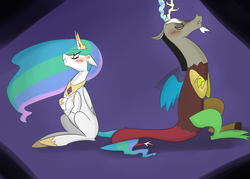 Size: 1400x1000 | Tagged: alicorn, angry, artist:zouyugi, crossed arms, discord, dislestia, draconequus, eyes closed, female, implied dislestia, implied shipping, implied straight, male, mare, pony, princess celestia, safe, shipping, straight, tail hold