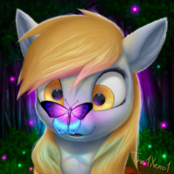 Size: 1024x1024 | Tagged: safe, artist:the1xeno1, derpy hooves, butterfly, pegasus, pony, butterfly on nose, cute, derpabetes, female, fluffy, insect on nose, mare, smiling, tree, weapons-grade cute