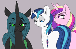 Size: 4116x2680 | Tagged: :3, 30 minute art challenge, alicorn, artist:pabbley, bedroom eyes, cadance is not amused, changeling, changeling queen, distracted boyfriend meme, eyes on the prize, fangs, female, frown, glare, gray background, grin, infidelity, looking at you, looking forward, male, meme, ponified meme, pony, princess cadance, queen chrysalis, safe, shining armor, shiningcadance, shining chrysalis, shipping, simple background, smiling, smirk, smug, smug bug, stallion, straight, this will end in a night on the couch, this will not end well, unamused