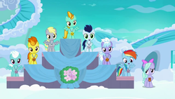 Size: 1280x720 | Tagged: safe, screencap, cloudchaser, derpy hooves, fleetfoot, flitter, lightning dust, rainbow dash, soarin', spitfire, pegasus, pony, parental glideance, cloud, cloudsdale, colt, female, filly, flower, foal, male, medal