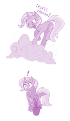 Size: 800x1380 | Tagged: safe, artist:dstears, trixie, pony, unicorn, atg 2018, cute, diatrixes, exclamation point, female, hiding, mare, monochrome, newbie artist training grounds, plant, purple, simple background, smoke bomb, solo, white background