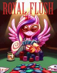 Size: 2700x3450   Tagged: safe, artist:whitediamonds, princess cadance, alicorn, pony, crown, drink, female, glasses, jewelry, mare, poker, poker chips, regalia, solo, sunglasses