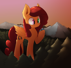 Size: 4069x3870 | Tagged: artist:angrylittlerodent, clothes, cute, cutie mark, giant pony, heterochromia, macro, mountain, mountain range, oc, oc:altus bastion, oc only, oc:soft melody, pegasus, pony, safe, scarf, tree, unicorn