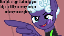 Size: 999x562 | Tagged: safe, edit, edited screencap, screencap, rolling thunder, pegasus, pony, the washouts (episode), eye scar, female, mare, meme, pointing, scar, text, washouts uniform, wing hands